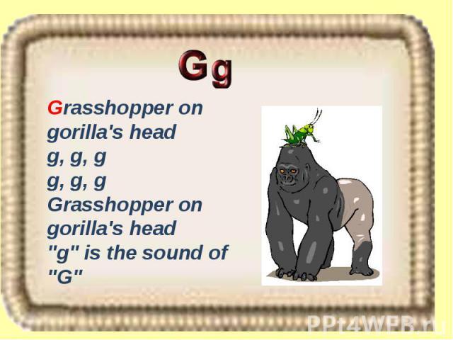 Grasshopper on gorilla's head g, g, g g, g, g Grasshopper on gorilla's head