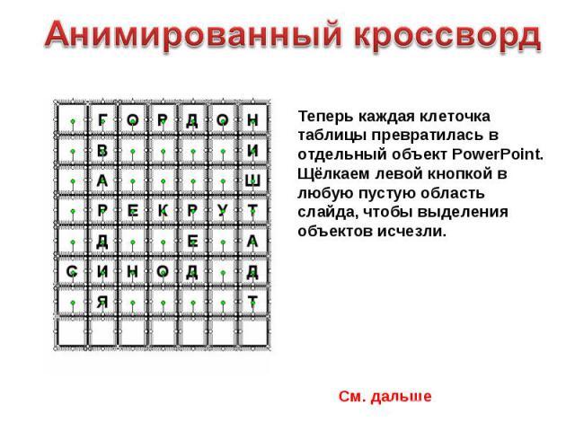 Анимированный кроссворд Теперь каждая клеточка таблицы превратилась в отдельный объект PowerPoint. Щёлкаем левой кнопкой в любую пустую область слайда, чтобы выделения объектов исчезли.См. дальше