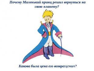 Почему Маленький принц решил вернуться на свою планету? Какова была цена его воз