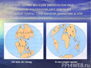 В юрское время материк раскололся под воздействием внутренних сил земли на отдел