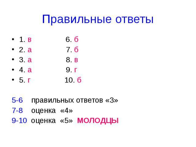 Правильные ответы 1. в 6. б2. а 7. б3. а 8. в4. а 9. г5. г 10. б5-6 правильных ответов «3»7-8 оценка «4»9-10 оценка «5» МОЛОДЦЫ