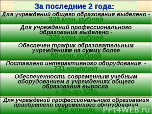 За последние 2 года: Для учреждений общего образования выделено -335 млн. рублей
