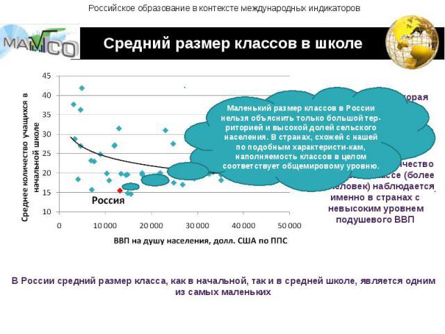 Российское образование в контексте международных индикаторов Средний размер классов в школе Маленький размер классов в России нельзя объяснить только большой тер-риторией и высокой долей сельского населения. В странах, схожей с нашей по подобным хар…