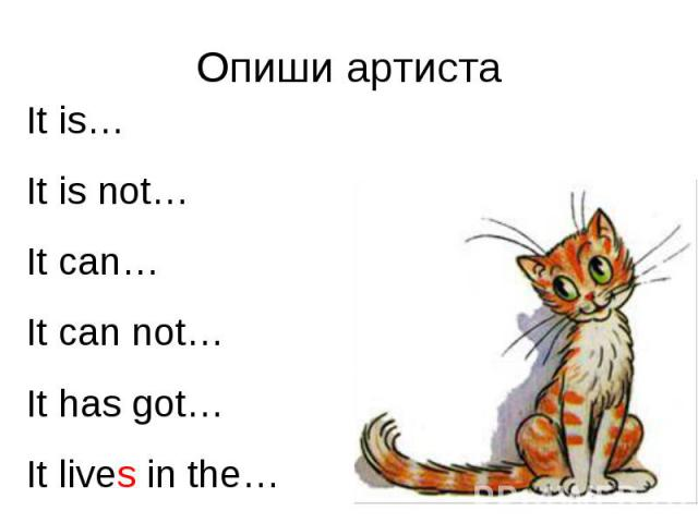 Опиши артиста It is…It is not…It can…It can not…It has got…It lives in the…