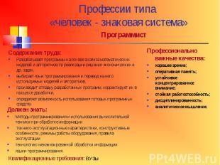 Профессии типа «человек - знаковая система»ПрограммистСодержание труда:Разрабаты