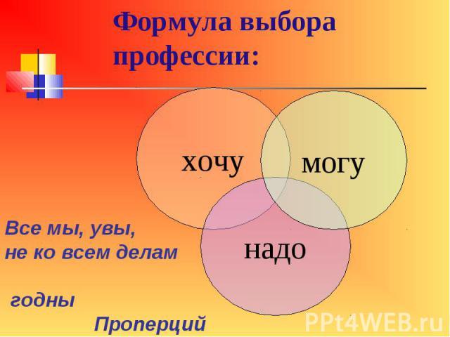 Формула выбора профессии: Все мы, увы, не ко всем делам годны Проперций