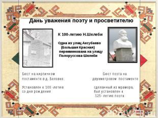 Дань уважения поэту и просветителю К 100-летию Н.Шелеби Одна из улиц Аксубаево (
