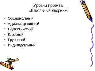 Уровни проекта «Школьный дворик»: ОбщешкольныйАдминистративныйПедагогическийКлас