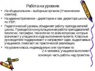 Работа на уровнях На общешкольном – выборным органом (Ученическим советом);На ад