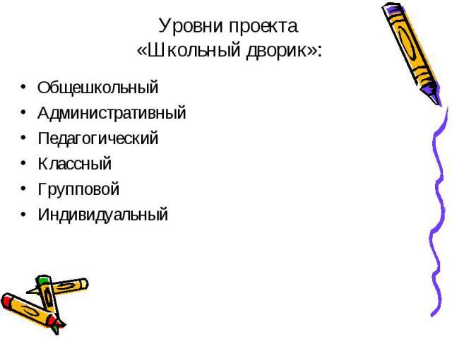 Уровни проекта «Школьный дворик»: ОбщешкольныйАдминистративныйПедагогическийКлассныйГрупповойИндивидуальный