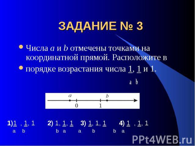 ЗАДАНИЕ № 3 Числа a и b отмечены точками на координатной прямой. Расположите впорядке возрастания числа 1, 1 и 1. a b
