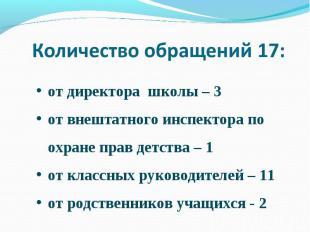 Количество обращений 17: от директора школы – 3от внештатного инспектора по охра