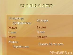 СКОЛЬКО ЛЕТ? Владимиру Дубровскому МашеСашеМитеКнязю Верейскому