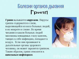 Болезни органов дыханияГриппГрипп вызывается вирусами. Вирусы гриппа содержатся
