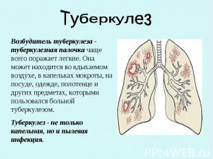 ТуберкулезВозбудитель туберкулеза - туберкулезная палочка чаще всего поражает ле