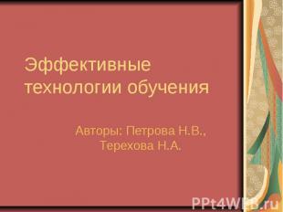 Эффективные технологии обучения Авторы: Петрова Н.В., Терехова Н.А.