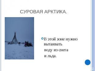 Суровая Арктика. В этой зоне нужно вытаивать воду из снега и льда.
