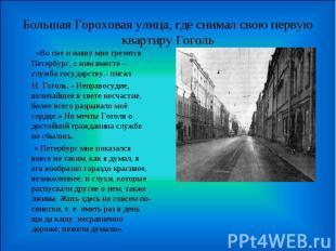 Большая Гороховая улица, где снимал свою первую квартиру Гоголь «Во сне и наяву