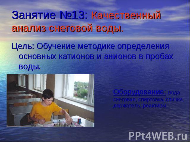 Занятие №13: Качественный анализ снеговой воды. Цель: Обучение методике определения основных катионов и анионов в пробах воды.Оборудование: вода снеговая, спиртовка, спички, держатель, реактивы.