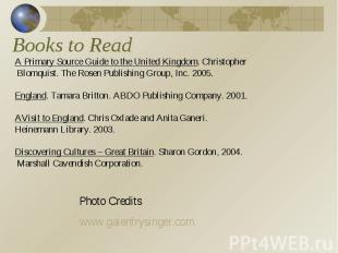 Books to Read A Primary Source Guide to the United Kingdom. Christopher Blomquis