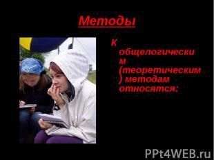 Методы К общелогическим (теоретическим) методам относятся:АнализСинтезОбобщениеА
