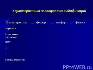 Характеристика аллотропных модификаций