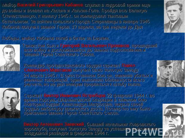 Майор Василий Григорьевич Кабанов служил в кадровой армии еще до войны и воевал на Хасане и Халхин-Голе. Пройдя всю Великую Отечественную, к началу 1945 г. он командовал танковым батальоном. За взятие польского города Скерневицы в январе 1945 Кабано…