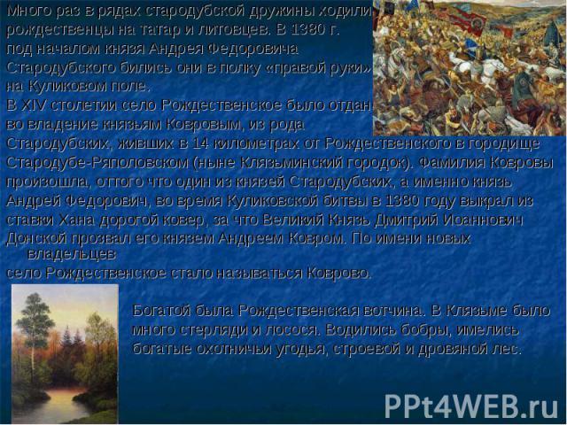 Много раз в рядах стародубской дружины ходили рождественцы на татар и литовцев. В 1380 г. под началом князя Андрея Федоровича Стародубского бились они в полку «правой руки» на Куликовом поле. В XIV столетии село Рождественское было отдано во владени…