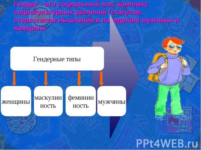 Гендер – это социальный пол, комплекс социокультурных различий (статусов, стереотипов мышления и поведения) мужчины и женщины