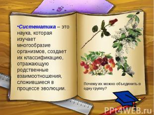 Систематика – это наука, которая изучает многообразие организмов, создает их кла