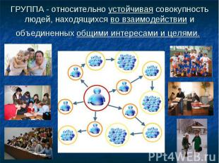 ГРУППА - относительно устойчивая совокупность людей, находящихся во взаимодейств