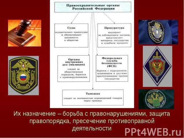 Их назначение – борьба с правонарушениями, защита правопорядка, пресечение противоправной деятельности