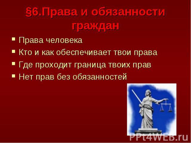§6.Права и обязанности граждан Права человекаКто и как обеспечивает твои праваГде проходит граница твоих правНет прав без обязанностей