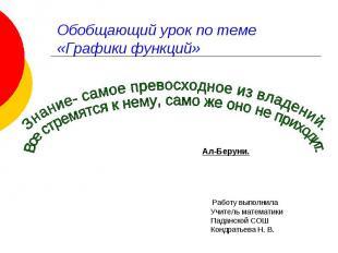 Обобщающий урок по теме «Графики функций» Знание- самое превосходное из владений