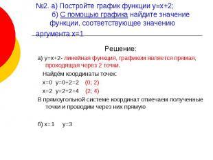 №2. а) Постройте график функции у=х+2; б) С помощью графика найдите значение фун