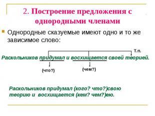 2. Построение предложения с однородными чле нами Однородные сказуемые имеют одно