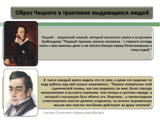 Образ Чацкого в трактовке выдающихся людейЧацкий - недалекий малый, который напитался умом и остротами Грибоедова: