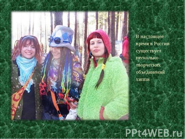 В настоящее время в России существует несколько творческих объединений хиппи