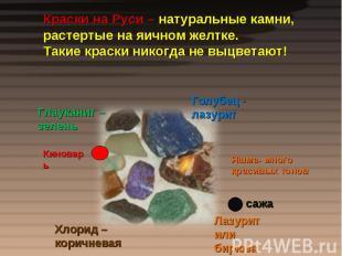 Краски на Руси – натуральные камни, растертые на яичном желтке.Такие краски нико