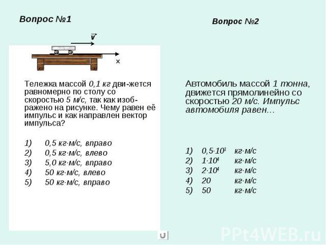 Вопрос №1 Тележка массой 0,1 кг дви-жется равномерно по столу со скоростью 5 м/с, так как изоб-ражено на рисунке. Чему равен её импульс и как направлен вектор импульса?1) 0,5 кг·м/с, вправо2) 0,5 кг·м/с, влево3) 5,0 кг·м/с, вправо4) 50 кг·м/с, влево…