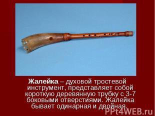 Жалейка – духовой тростевой инструмент, представляет собой короткую деревянную т