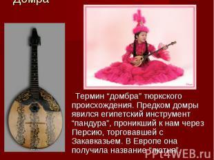 """Домра Термин """"домбра"""" тюркского происхождения. Предком домры явился египетский и"""