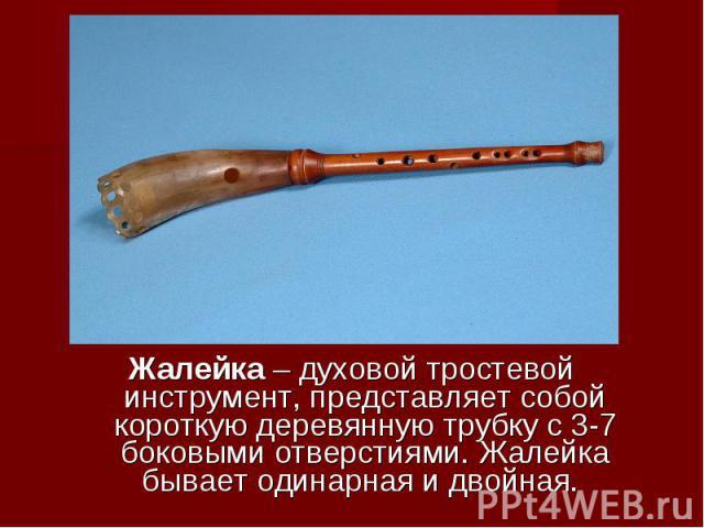 Жалейка – духовой тростевой инструмент, представляет собой короткую деревянную трубку с 3-7 боковыми отверстиями. Жалейка бывает одинарная и двойная.