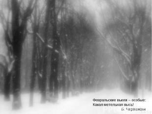Февральские вьюги – особые:Какая метельная высь! Б. Черемисин