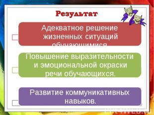 Результат• Адекватное решение жизненных ситуаций обучающимися.Повышение выразите