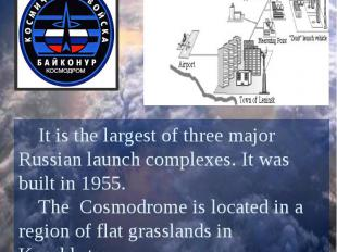 Baikonur Cosmodrome It is the largest of three major Russian launch complexes. I