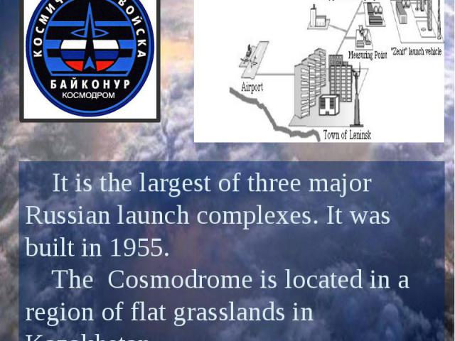 Baikonur Cosmodrome It is the largest of three major Russian launch complexes. It was built in 1955. The Cosmodrome is located in a region of flat grasslands in Kazakhstan. It is the only cosmodrome used for crewed launches.