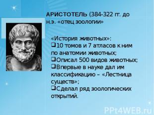 АРИСТОТЕЛЬ (384-322 гг. до н.э. «отец зоологии»«История животных»:10 томов и 7 а