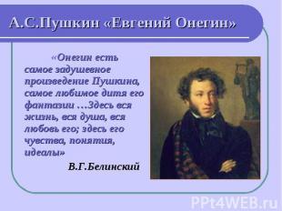 А.С.Пушкин «Евгений Онегин» «Онегин есть самое задушевное произведение Пушкина,