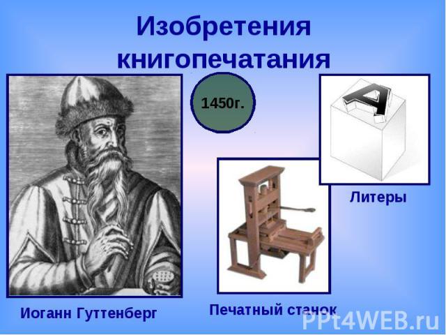 Изобретения книгопечатания Иоганн ГуттенбергПечатный станокЛитеры